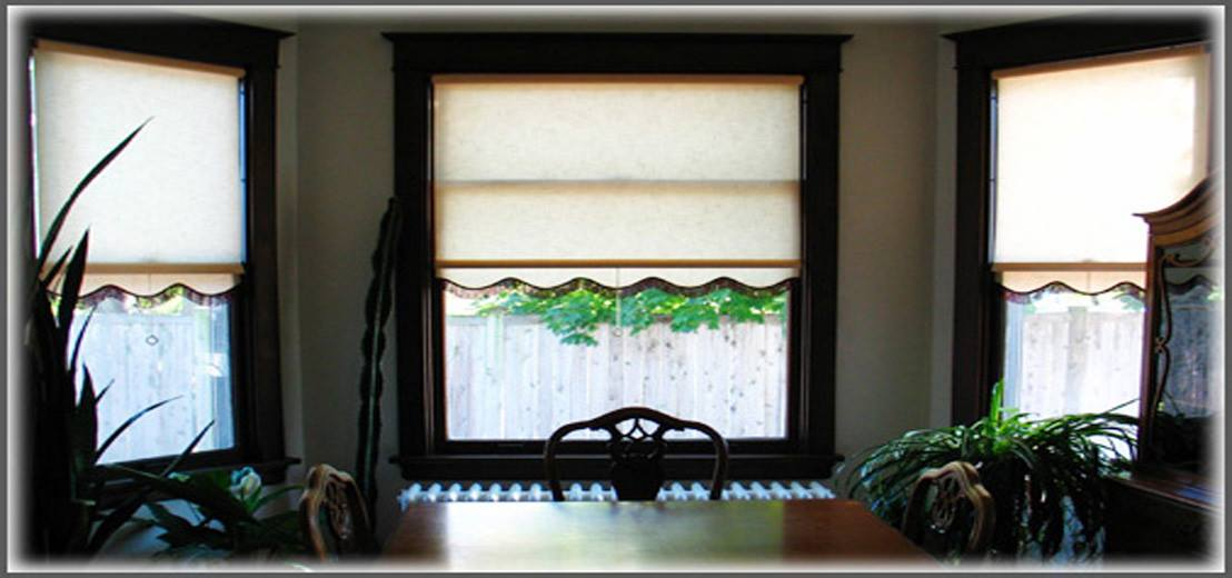 Example of a dining room with window shades made at Zwick